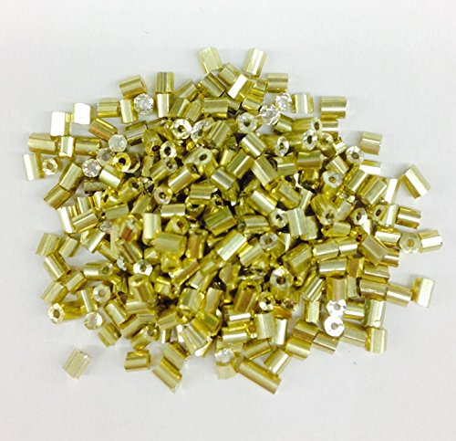 2.5 oz = 75 Grams Bugle Seed Beads Tube 2.5mm Long Metallic Gold Selling PER Bag