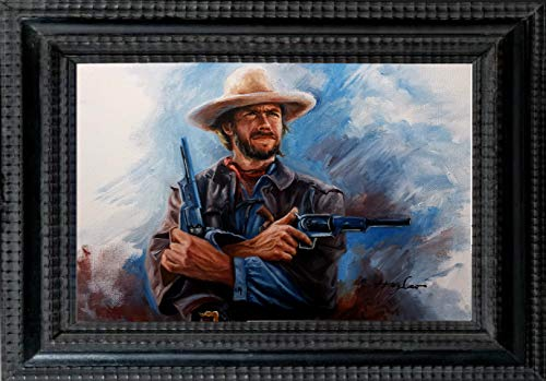 Clint Eastwood, western movie celebrity, original oil painting artwork print, large size 24 X 36