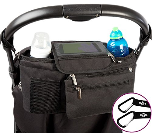 BTR Stroller Organizer Storage Bag, Exclusive Phone-Flip-Pocket Cell Phone Holder and DETACHABLE Purse PLUS 2 Stroller Hooks by BTR