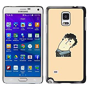 TopCaseStore / la caja del caucho duro de la cubierta de protección de la piel - Funny Curly Hair Man - Samsung Galaxy Note 4 SM-N910