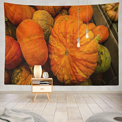 KJONG Pumpkins Pumpkin Agriculture Autumn Farm Christmas Color Colorful Fall Family Farm Farm Farm Stand Flat Food Decorative Tapestry,50X60 Inches Wall Hanging Tapestry for Bedroom Living Room