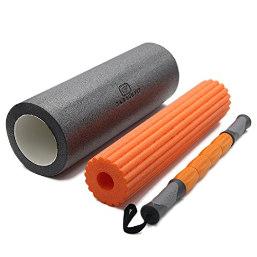 3 in 1 Massage Roller Kit for Sore, Stiff Muscles – Trigger Point Massage & Myofascial Release, for Back, Legs, Calves & More – Two Foam Rollers And A Massage Stick