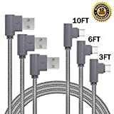 PC Hardware : USB Type C Cable, ANLOER 90 Degree 3Pack 3Ft 6Ft 10Ft Angled Nylon Braided Long Cord Data Sync Cord for Samsung Galaxy Note 8, S8 Plus, LG V30 V20 G6, Google Pixel 2, Nexus 5X/6P, Moto Z2 (Grey)