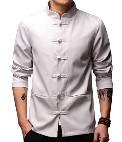 Mfasica Men Chinese Style Relaxed-Fit Mandarin Collar Venture Jacket Grey 4XL ()