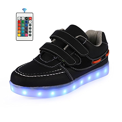 Price comparison product image AFFINEST Boys Girls Light Up Shoes 11 Color LED Flashing USB Charging Sneakers (Toddler/Little Kids/Big Kids),32,Black