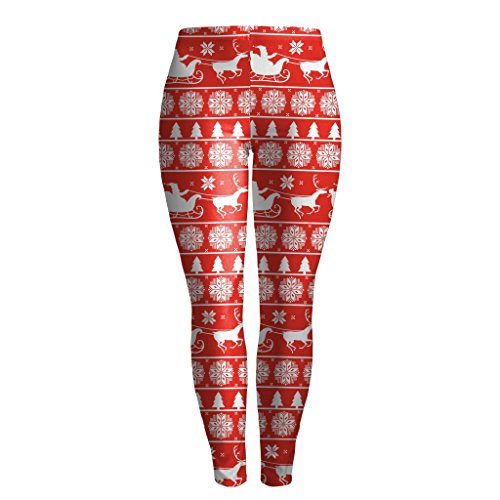 MWBAY Womens red Background Santa's Sleigh Leggings Sports Yoga GYM Streetnic Work Out Fitness Pants Christmas Gifts