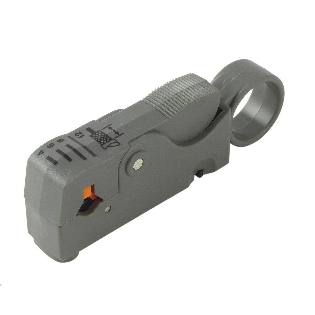 Outil /à couper les fils /à d/énuder RG58 RG59 RG6 Outil de coupe-c/âble mat/ériel multifonctionnel rotatif coaxial rotatif Couleur: noir