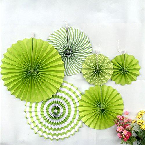 Tidy Decor Basics Party Fans,Vivid Green Color, Set of 6