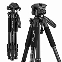 Mactrem PT55 Travel Camera Tripod Lightweight Aluminum for DSLR SLR Canon Nikon Sony Olympus DV with Carry Bag -11 lbs(5kg) Load ( Black)