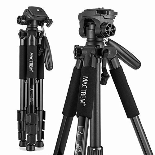 MACTREM M-PT55-Bk PT55 Travel Camera Tripod Lightweight Aluminum for DSLR SLR Canon Nikon Sony Olympus DV with Carry Bag -11 Lbs(5Kg) Load (Black)