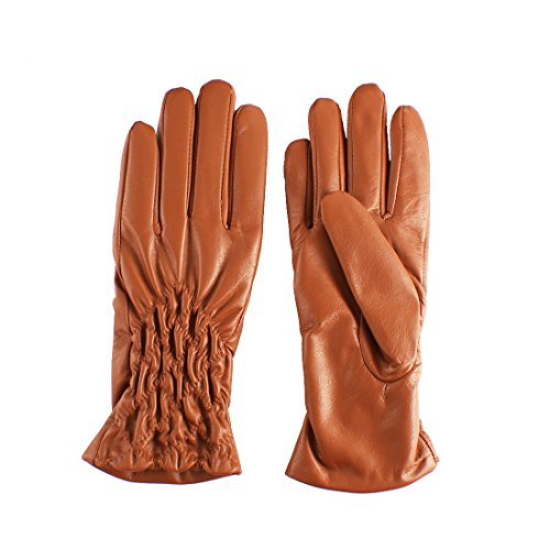 Nappaglo Women's Genuine Nappa Leather Gloves Winter Touchscreen Ruched Wrist Length Short Gloves (XL (Palm Girth:8