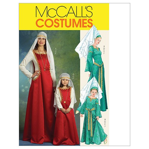 Mccalls Costume Patterns Medieval (McCall's Patterns M5499 Misses'/Children's/ Girls' Medieval Costumes, Size KID [(3-4) (5-6) (7-8)])