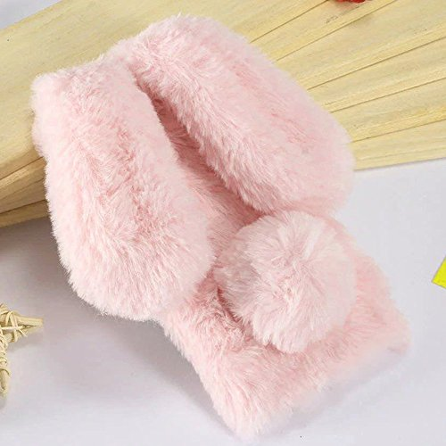 Plush Cover for iPhone 6 / 6S Case LAPOPNUT Cute Bunny Ears Case Luxury Winter Soft Warm Cover Fluffy Furry Rabbit Shockproof Back Bumper with Chic Bling Crystal Diamond-Pink