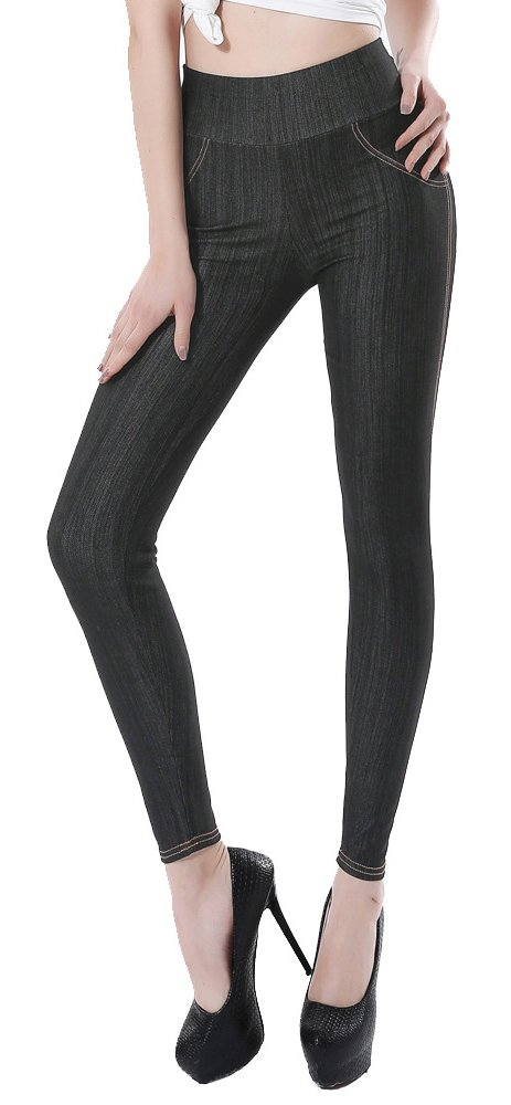 Sipaya Jeans Leggings High Waist with Tummy Control Jeggings for Women Black XL