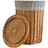 RURALITY Round Wicker Laundry Basket with Lid and Linen Liner,Large