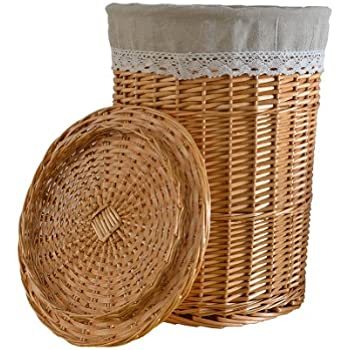 Amazoncom RURALITY Round Wicker Laundry Basket with Lid and Linen