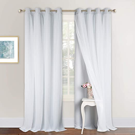 NICETOWN Curtains Extra Long Double-Layer Mix Match Dressing Sheer Plus Light Blocking Blackout Curtain Panel