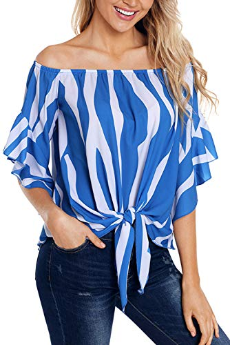 Eternatastic Womens Striped Off Shoulder Bell Sleeve Shirt Tie Knot Blouses Top XL Blue Strips