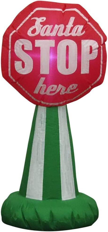 Home Accents Inflatable Santa Stop Here Sign LED 3'6""