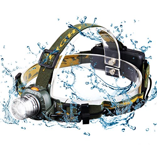 Cos2be Water Resistant LED Headlamp, 3 Modes Super Bright Led Headlight,Helmet Light for Camping, Running, Hiking and Reading(Include USB Cable & 3 AAA Battery) (Lamp Rams Helmet)