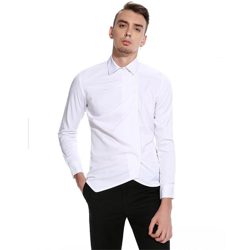 Männer lässig Hemd persönlichkeit ungewöhnlich hohe qualität langärmliges Hemd,weiße,l