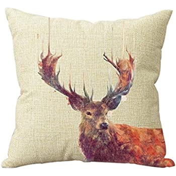 Decorative Cotton Linen Vintage Deer Throw Pillow Case Cover Animal Style Cushion Cover Case 18*18 New Design Custom Decor Square Cushion Covers by Pillowbox