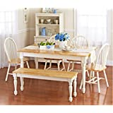 White Dining Room Set with Bench. This Country Style Dining Table and Chairs Set for 6 Is Solid Oak Wood Quality Construction. A Traditional Dining Table Set Inspired By the Farmhouse Antique Furniture Look.