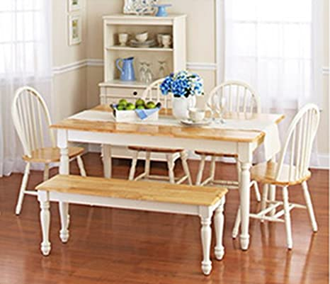 White Dining Room Set with Bench. This Country Style Dining Table and  Chairs Set for 6 Is Solid Oak Wood Quality Construction. A Traditional  Dining ...