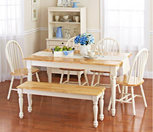 Country Dining Table - White Dining Room Set with Bench. This Country Style Dining Table and Chairs Set for 6 Is Solid Oak Wood Quality Construction. A Traditional Dining Table Set Inspired By the Farmhouse Antique Furniture Look.