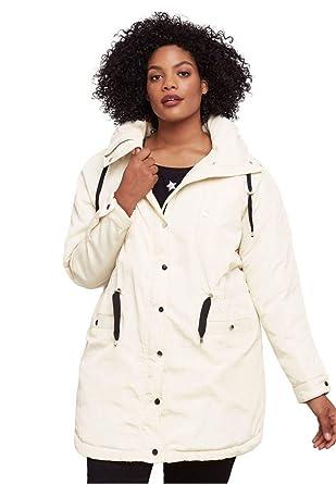 2b12f406f9b36 Ellos Women s Plus Size Funnel Neck Snap Anorak at Amazon Women s ...