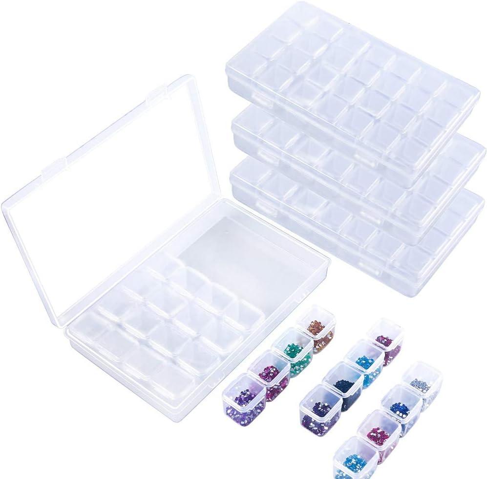 REYOK 4PCS 28 Grids Diamond Embroidery Box Diamond Stones Dividers Box Organizer Storage Case para Diamond Painting Rhinestone Juegos de Mosaico