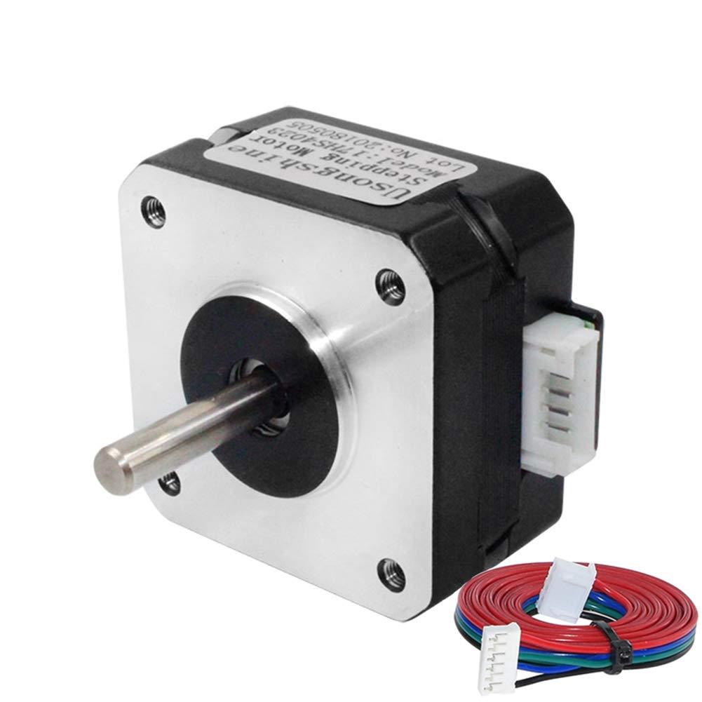 Usongshine NEMA 17 Schrittmotor für Titan-Extruder 3D-Druckermotor 17HS4023 mit Draht (Schwarz, 1Pcs)