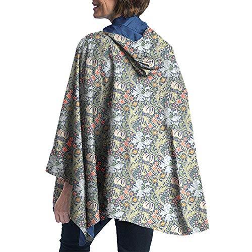 RainCaper Rain Poncho for Women - Reversible Rainproof Hooded Cape in Gorgeous Ultrasoft Colors (Bluebell & William Morris Lily) ()