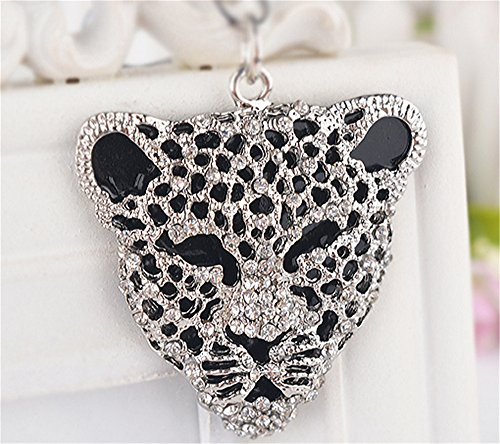 JewelBeauty Fashion Crystal Leopard Jaguar Head Key Ring Purse Bag Keychain Car Bag Pendant Decoration Gift (Silver)