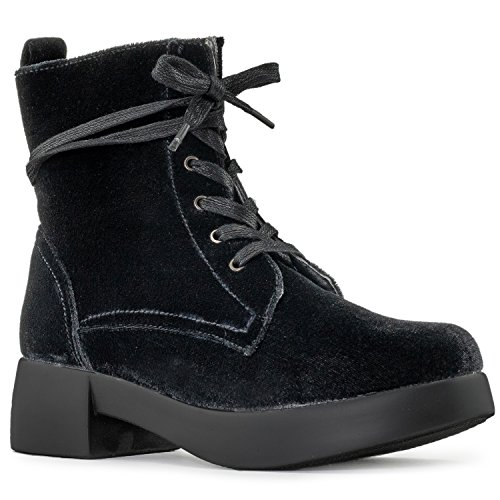 - RF ROOM OF FASHION Women's Light Weight Velvet Lace Up Stacked Platform Heel Combat Ankle Boots Black Velvet (7)