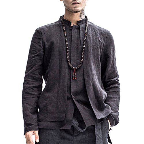 Kung Fu Smith Men Vintage Tai Chi Master Long Sleeve 2-In-1 Top Jacket Shirt, Black M