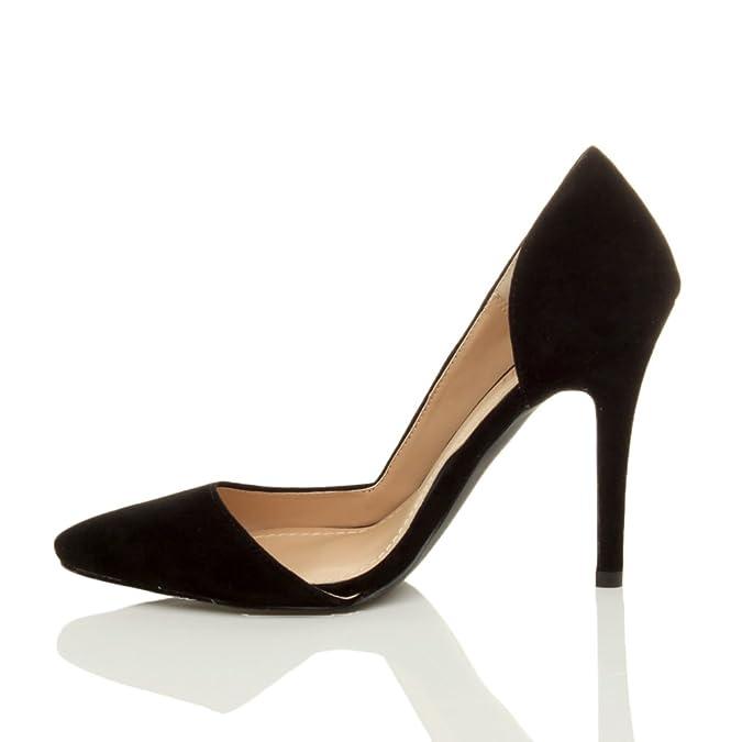 Damen Hoher Absatz Stiletto Spitz Ausschneiden Dorsay Pumps Schuh Größe 3 36 Ajvani hgAnI