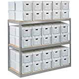 Record Storage Rack With 18 Boxes, 42''W x 15''D x 60''H, Gray