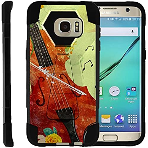 Samsung Galaxy S7 Edge, Dual Layer Shell SHOCK Impact Kickstand Case with Unique Graphic Images by Miniturtle - Violin Serenade Sales
