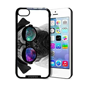 Shawnex Pug Geek Space Hipster Galaxy iPhone 5C Case - Thin Shell Plastic Protective Case iPhone 5C Case