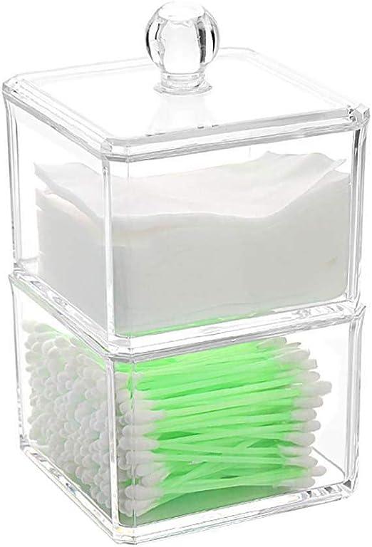 Depory - Dispensador de bastoncillos de algodón con dispensador de hisopos, Organizador de Maquillaje de acrílico, Caja de algodón para Almacenamiento de dispensador de cosméticos, 9,2 x 9,2 x 15 cm: Amazon.es: Hogar