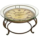 Coffee Table Glass Top Round Metal Clock Unique Living Room Vintage  Furniture