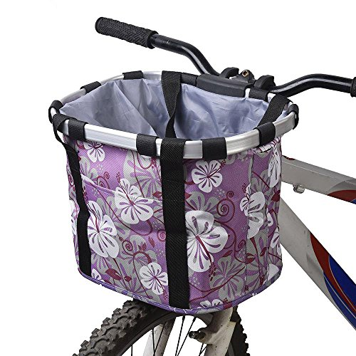 Ezyoutdoor Aluminum Mountain Bike Basket with Zipper Quick-disassembly Frame Pet Carrier Bike Detachable Cycle Front Carrier Bag Pet Carrier Random Color