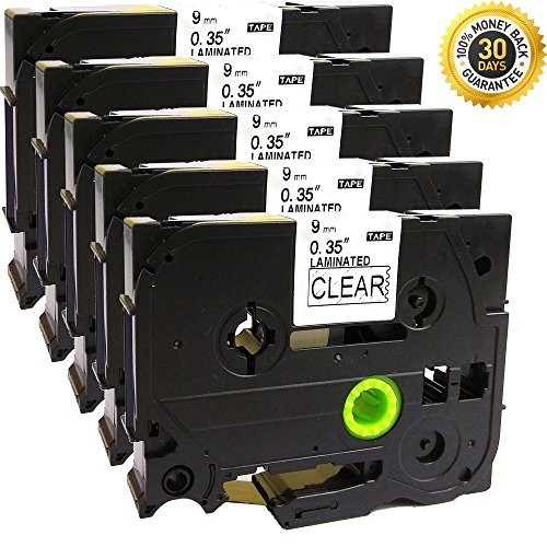 NEOUZA 5PK Compatible For Brother P-Touch Laminated Tze Tz Label Tape Cartridge 9mm x 8m (TZe-121 Black on Clear)