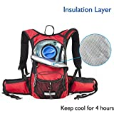 MIRACOL Insulated Hydration Backpack Pack with 2L BPA Free Water Bladder and Long Tube Brush,Prefect Outdoor Gear for Hiking, Running, Camping, Cycling, Fits Men, Women, Kids, Children, Red