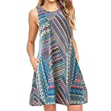 Women Dresses, Women's Casual Dress Women Ladies Casual Floral Printed Boho T-Shirt Dresses with Pockets Mini Dress