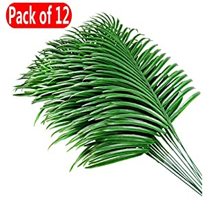Palm Leaves,Artificial Plants Fake Palm Tree Leaves Garland Faux Tropical Palm Leaves Imitation Large Flowers Greening Kitchen Home Birthday Party Festival Flowers Arrange Wedding Decorations - 12pcs 117
