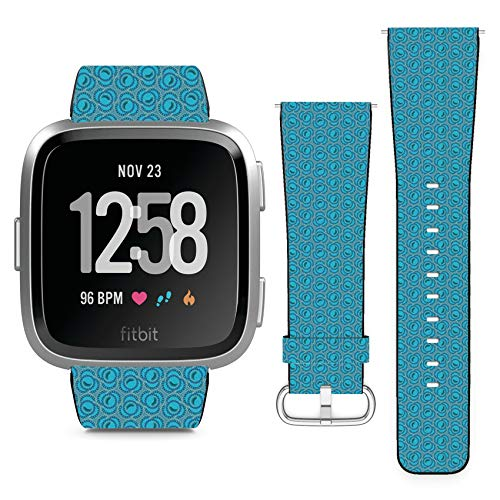Floral Swirl Pin - Compatible with Fitbit Versa // Leather Replacement Bracelet Strap Wristband with Quick Release Pins // Floral Swirl Ornamental