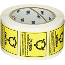 """SL-3 extraíble Papel estáticas etiquetas de la conciencia, Negro en amarillo, 2.000 """"x 2.000"""" (50.800 mm x 50.800 mm), la leyenda """"Precaución dispositivos sensibles electrónicos .. (MIL Std. 129J Símbolo)"""" (500 etiquetas por rollo, 1 rollo por paquete)"""