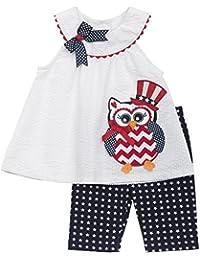 Little Girls Red White Blue Owl Applique Americana Patriotic Dress/Capri Set